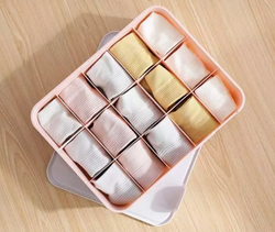 Homescapes Compartment 15-GRID Storage Box Organizers with lid (PINK)