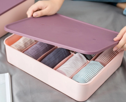 Homescapes Compartment 10-GRID Storage Box Organizers with lid (PINK)
