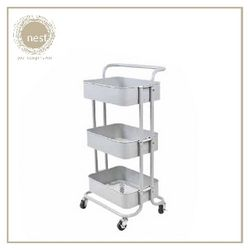 Nest Design Lab Utility Cart 3 Layer Storage Shelf Trolley Rack-Multi Purpose-Stainless - Grey