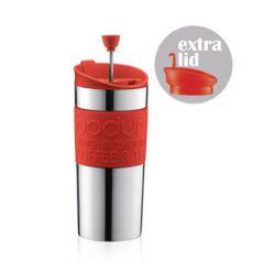 BODUM  TRAVEL PRESS COFFEE MAKER w/ EXTRA LID,VACUUM,SMALL,0.35L,12oz RIBBON RED