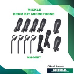 MICKLE MM-DMK7 7PC Professional Microphone Kit - Mountable Drum and Instrument Micrphones for Live Sound