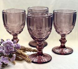 Blush Purple Colored Glass Goblet Vintage Pressed Pattern, set of 4 pcs