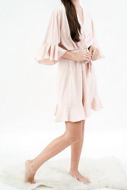 Intissimo  Ruffles  Silk Lace Robe (Blush Pink)