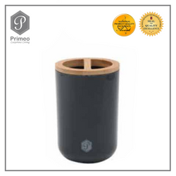 Primeo Bathroom Accessories Bamboo Black Series Toothbrush Holder