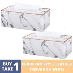 BUY1TAKE1 - EUROPEAN STYLE LEATHER TISSUE BOX WHITE