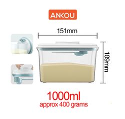 Ankou Airtight 1 Touch Button Clear Container With Scoop Spoon and Holder 1000ml (Rectangular)