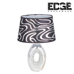 Edge Houseware 20x37cm Bedside Table Lamps  Unique Elegant Bedside Desk Lamps with Silver Brushed Ceramic Base Modern Lamps for Living Room Bedroom and office