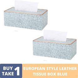 BUY1TAKE1 - EUROPEAN STYLE LEATHER TISSUE BOX BLUE