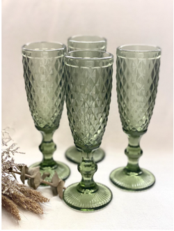Vintage Green Champagne Glass Toasting Flutes, set of 4 pcs