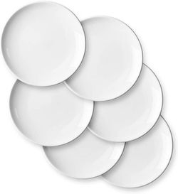 Edge Houseware 9 Inches Curved plate Porcelain Pasta Dessert Salad Bowls - Large and Durable Serving Bowl Dishwasher and Microwave Safe - Set of 6, White