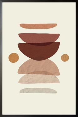 """NEUTRAL TONE ABSTRACT SHAPE POSTER 19x27"""""""
