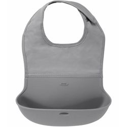 Tickled Babies Oxo Tot Waterproof Silicone Roll-Up Bib With Comfort-Fit Fabric Neck - Gray