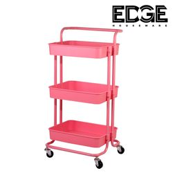 Edge Houseware 3 Tier Rolling Utility Cart with Handle - Organizer Shelves Trolley Service Cart with Lockable Wheels