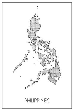 "PHILIPPINE MAP ART POSTER 19x27"""