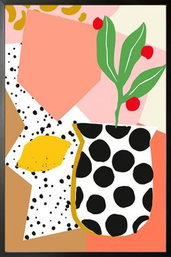 ABSTRACT VASE AND LEMON POSTER 11x15