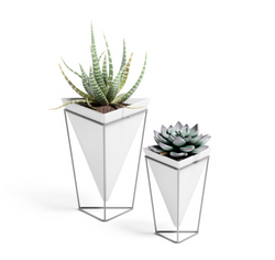 Umbra Trigg Tabletop (Set Of 2) Small+Large White/Nickel
