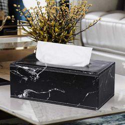 LEATHER TISSUE BOX BLACK MARBLE