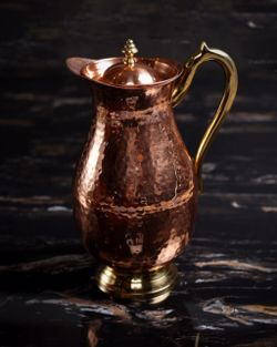 O&M Copper Pitcher with Gold Handles