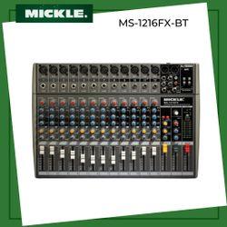 Mickle MS-1216FX/BT 12  Channel Slim Design Audio Mixer w/ Bluetooth