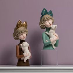 Happy Home PH Lady Figurine with Cat/Dog