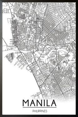 "MANILA MAP LINE ART POSTER 24x36"""