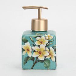 Plumeria Obtusa Flower lotion bottle with ABS plastic gold pump