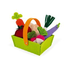 Janod- Fabric Basket With 8 Vegetables