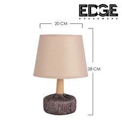 Edge Houseware 20x28cm Modern Table Lamp Ceramic Wood Tall Drum Shade for Living Room Family Bedroom