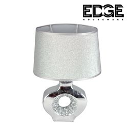 Edge Houseware 20x33 Bedside Table Lamps - Unique Elegant Bedside Desk Lamps with Silver Brushed Ceramic Base Modern Lamps for Living Room, Bedroom and office