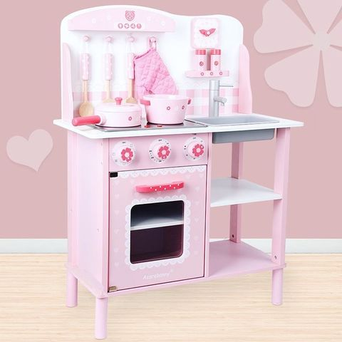 Wooden Bunny Kitchen Set with Refrigerator
