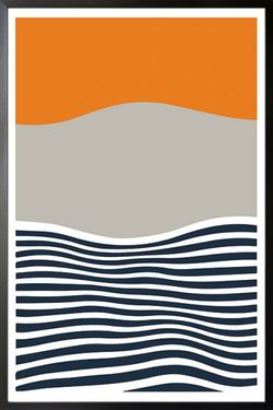 """ABSTRACT SUNSET WITH GRAY MOUNTAIN POSTER 15x19"""""""