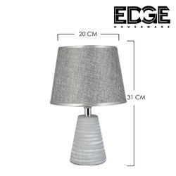 Edge Houseware 20x31CM Ceramic Table Lamp European Style Bedroom Bedside Lamp Romantic Decoration Table Lamp Living Room Creative Classical Retro Lamp Warm Light Fabric Shade Free Bulb