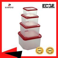 Edge Houseware Safe Easy Essentials Food Storage lids set of 4 Square Plastic Meal Prep Food Storage 4-Piece