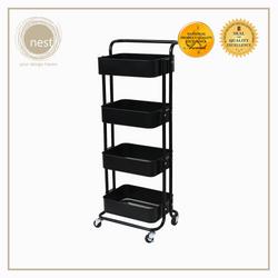 Nest Design Lab Multi-Purpose 4 Layer Stainless Steel Shelf Storage Utility Trolley with Wheels - Black