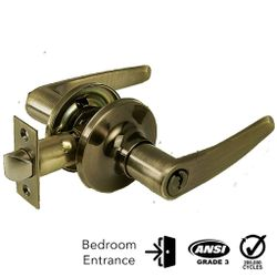 Corona Entrance Keyed Lever Lock (Antique Brass)