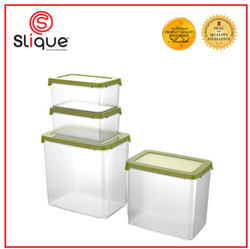SLIQUE Premium Rectangular Food Container BPA Free Airtight Microwave Safe Silicone Lid Set of 4 Storage Essentials Amazing Gift Idea For Any Occasion!