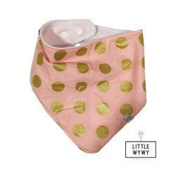 Little Wywy Bandana Bib Regular Bamboo - Pink w/ Gold Polka