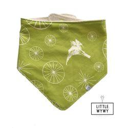 Little Wywy Bandana Bib Organic - Green Wheels w/ Bird