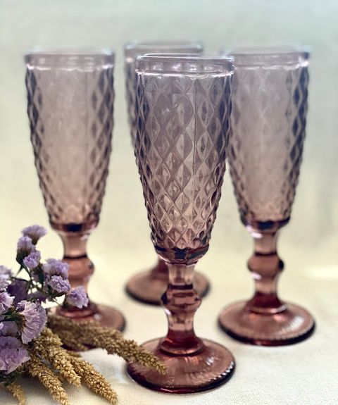 Vintage Champagne Glass Toasting Flutes, set of 4 pcs