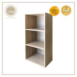 Nest Design Lab Low Open Cabinet 3 Layer Shelf- Storage Organizer- Ash Wood