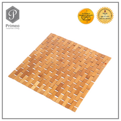 Primeo Luxury eco-friendly Natural Bamboo Wood Bath Mat Small