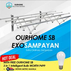 OurHome SB Premium Exo Sampayan 4Pole 4to6ft Retractable Stainless Steel Modern Elegant Sampayan...  with FREE Intelligent Bulb