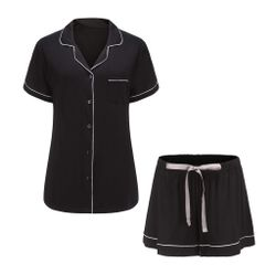 Bamboo Pajama Shorts Set - Black