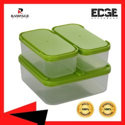 Edge Houseware set of 3 Rectangular Bento Lunch Box Containers Plastic Meal Prep Food Storage BPA Free