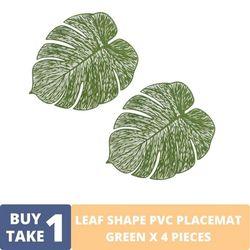 BUY1TAKE1 - Green PVC Leaf Placemat