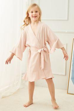 Intissimo  Silk Lace Robe Ruffles Teens (Blush Pink)