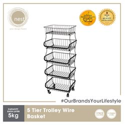 NEST DESIGN LAB Premium Heavy duty Durable 5 Tier Stackable Kitchen Trolley Wire Basket Metal 41.5 x 33 x 105.5cm Black Amazing Gift Idea For Any Occasion!