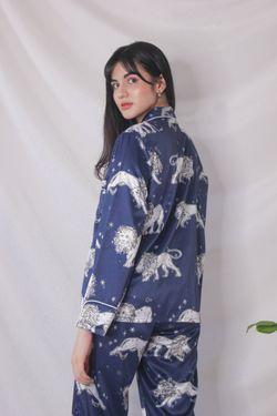 Intissimo Animal Print Terno Pajama Silk Sleepwear Long -C