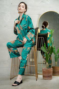 Mulberry Silk Printed Pajama Esmeralda