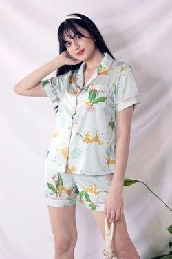 Intissimo Animal Print Terno Pajama Silk Sleepwear Shorts (Green) -C